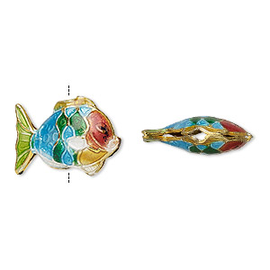 bead, enamel and gold-finished copper, multicolored, 18x13mm fish. sold per pkg of 4.