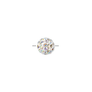 bead, epoxy / resin / glass rhinestone, clear ab and white, 8mm round. sold individually.