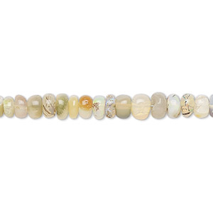 bead, ethiopian opal (natural), 2x1mm-5x3mm graduated hand-cut rondelle, b grade, mohs hardness 5 to 6-1/2. sold per 16-inch strand.