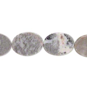 bead, fancy grey marble (natural), 20x15mm flat oval, c grade, mohs hardness 3. sold per 15-inch strand.