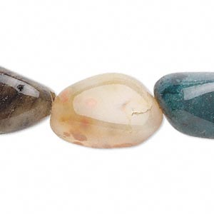bead, fancy jasper (natural), large tumbled nugget, mohs hardness 6-1/2 to 7. sold per 16-inch strand.