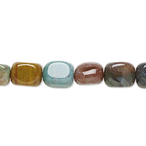 bead, fancy jasper (natural), small to medium tumbled pebble, mohs hardness 6-1/2 to 7. sold per 16-inch strand.