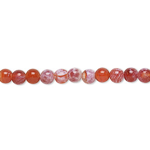 bead, fire crackle agate (dyed / heated), 4mm round, b grade, mohs hardness 6-1/2 to 7. sold per 16-inch strand.