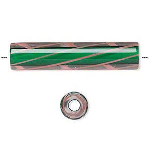 bead, fire design beads cane glass, kelly green/clear/pink, 2-inch round tube with 4mm hole. sold individually.