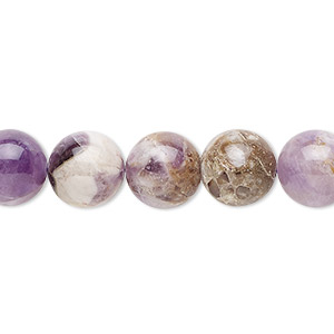 bead, flower amethyst (natural), 10mm round, c grade, mohs hardness 7. sold per 16-inch strand.