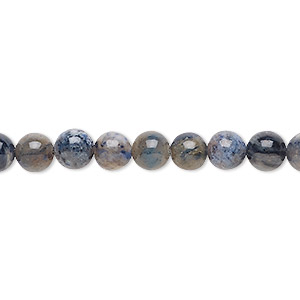 bead, flower dumortierite (natural), 6mm round, b grade, mohs hardness 7. sold per 16-inch strand.