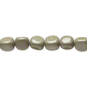 bead, forest green serpentine (natural), small to medium pebble, mohs hardness 2-1/2 to 6. sold per 15-inch strand.