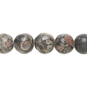 bead, fossil agate (natural), 10mm round, b grade, mohs hardness 6-1/2 to 7. sold per 16-inch strand.