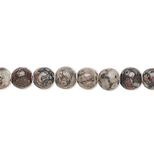 bead, fossil agate (natural), 6mm round, b grade, mohs hardness 6-1/2 to 7. sold per 16-inch strand.