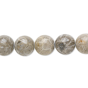 bead, fossil coral (natural), 10mm round, mohs hardness 6-1/2 to 7. sold per 16-inch strand.