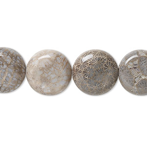 bead, fossil coral (natural), 14mm flat round, b grade, mohs hardness 6-1/2 to 7. sold per 16-inch strand.