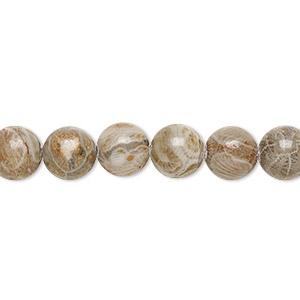 bead, fossil coral (natural), 8mm round, b grade, mohs hardness 6-1/2 to 7. sold per 16-inch strand.