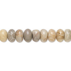 bead, fossil coral (natural), 8x5mm rondelle, b grade, mohs hardness 6-1/2 to 7. sold per 16-inch strand.