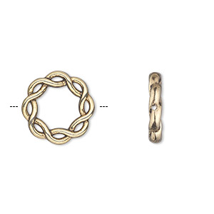 bead frame, antique gold-finished pewter (zinc-based alloy), 15mm double-sided braided circle with 8mm center hole. sold per pkg of 20.