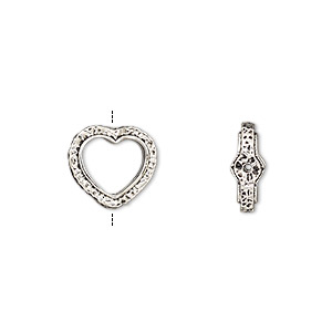 bead frame, antique silver-finished pewter (zinc-based alloy), 12x11mm open heart with hammered edge and 0.7-0.8mm hole, fits up to 8mm bead. sold per pkg of 2.