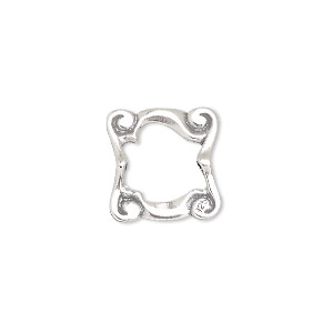 bead frame, jbb findings, sterling silver, 15x15mm square with swirls, fits up to 8mm bead. sold individually.