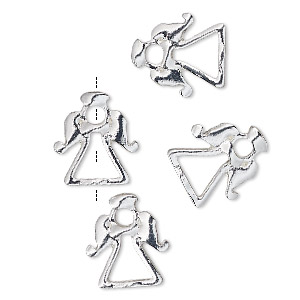 bead frame, silver-finished pewter (zinc-based alloy), 14x13mm angel with halo, fits up to 2.5mm and 5mm bead. sold per pkg of 4.