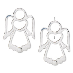 bead frame, silver-finished pewter (zinc-based alloy), 31x22mm angel, fits up to 5mm / 6mm / 10mm beads. sold per pkg of 2.