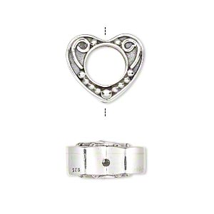 bead frame, sterling silver, 16x14mm fancy heart with swirl and ball design, fits up to 8mm bead. sold individually.