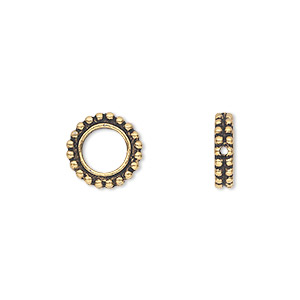 bead frame, tierracast, antique gold-plated pewter (tin-based alloy), 11x3mm beaded flat round, fits up to 6mm bead. sold per pkg of 2.