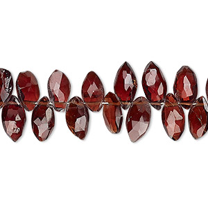 bead, garnet (dyed), 10x5mm hand-cut top-drilled faceted puffed marquise, b grade, mohs hardness 7 to 7-1/2. sold per 4-inch strand.