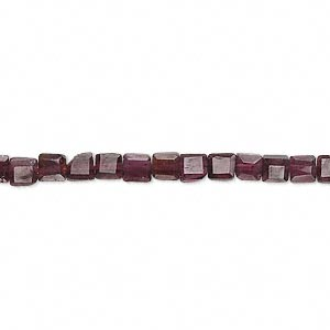 bead, garnet (dyed), 4x4mm hand-cut faceted flat square, c grade, mohs hardness 7 to 7-1/2. sold per 14-inch strand.