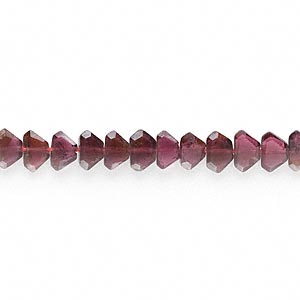 bead, garnet (dyed), 5x3mm-7x5mm hand-cut 6-sided faceted diamond, b grade, mohs hardness 7 to 7-1/2. sold per 16-inch strand.