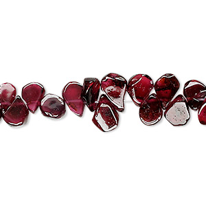 bead, garnet (dyed), 7x4mm hand-cut top-drilled flat teardrop, c grade, mohs hardness 7 to 7-1/2. sold per 16-inch strand.