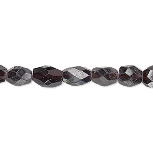 bead, garnet (dyed), 7x6mm-11x7mm hand-cut faceted puffed oval, d+ grade, mohs hardness 7 to 7-1/2. sold per 13-inch strand.