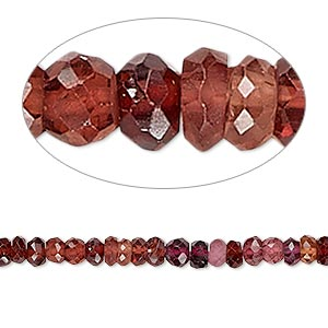 bead, garnet (natural), 4x2mm-5x3mm hand-cut faceted rondelle, c grade, mohs hardness 7 to 7-1/2. sold per 13-inch strand.