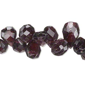 bead, garnet (natural), 9x7mm-18x9mm graduated hand-cut top-drilled faceted puffed teardrop, c grade, mohs hardness 7 to 7-1/2. sold per 14-inch strand.