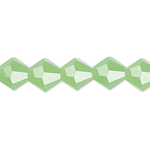 bead, glass, 16-facet, frost green, 10mm faceted bicone. sold per 16-inch strand.