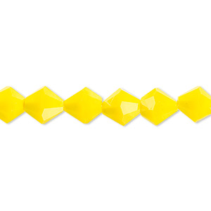bead, glass, 16-facet, opaque yellow, 8mm faceted bicone. sold per 16-inch strand.