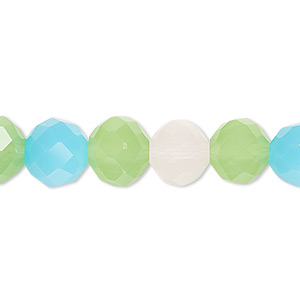 bead, glass, 48-facet, frost pink / frost turquoise blue / frost green, 10mm faceted round. sold per 16-inch strand.