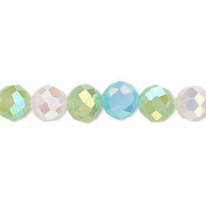 bead, glass, 48-facet, frost pink / frost turquoise blue / frost green ab2x, 8mm faceted round. sold per 16-inch strand.