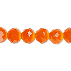 bead, glass, 48-facet, opaque orange, 10mm faceted round. sold per 16-inch strand.