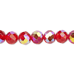 bead, glass, 48-facet, red ab, 8mm faceted round. sold per 16-inch strand.
