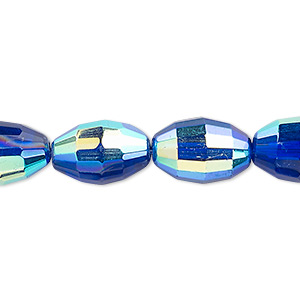 bead, glass, 66-facet, cobalt ab, 15x10mm faceted oval. sold per 16-inch strand.