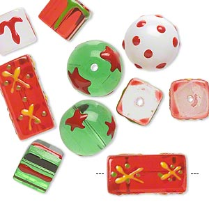bead, glass and epoxy, multicolored, 10x10mm cube / 14mm round / 20x10mm double-sided square tube with christmas-themed designs. sold per pkg of 10.