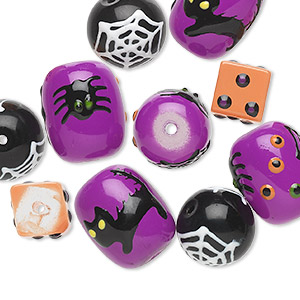 bead, glass and epoxy, multicolored, 10x10mm cube, 14mm round and 18x14mm barrel with halloween-themed designs. sold per pkg of 10.