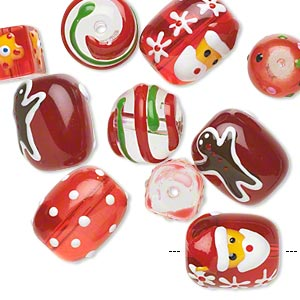 bead, glass and epoxy, red / green / multicolored, 10x10mm cube / 12-14mm round / 18x14mm double-sided barrel with christmas-themed designs. sold per pkg of 10.