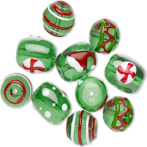 bead, glass and epoxy, red / green / white, 14mm round and 18x14mm double-sided barrel with christmas-themed designs. sold per pkg of 10.