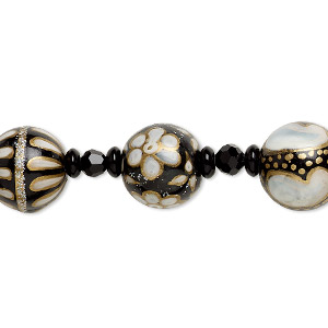 bead, glass and lampworked glass, black / white / gold with clear ab glitter, 6mm faceted round / 7x3mm rondelle / 17mm round with hand-painted abstract design. sold per 7-inch strand.
