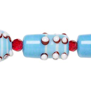 bead, glass and lampworked glass, turquoise blue / red / white, 6mm faceted round / 14mm bumpy round / 22x10mm bumpy round tube. sold per 7-inch strand.