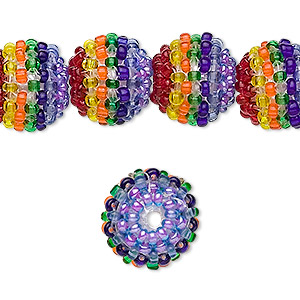 bead, glass and plastic, rainbow, 10mm round. sold per pkg of 10.