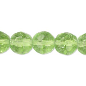 bead, glass, apple green, 11-12mm faceted round. sold per 12-inch strand. minimum 2 per order.