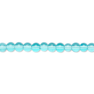bead, glass, aqua blue, 4mm round. sold per 36-inch strand.