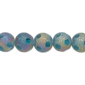 bead, glass, aqua blue with pastel stardust finish, 10mm faceted round. sold per 16-inch strand.