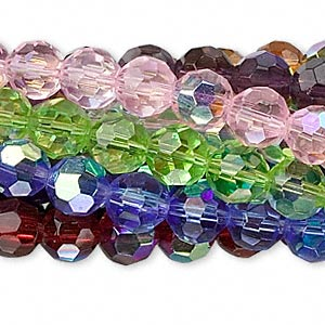 bead, glass, assorted colors ab, 8mm faceted round. sold per pkg of ten 13-inch strands.