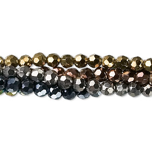 bead, glass, assorted metallic colors, 4mm faceted round. sold per pkg of five 13-inch strands.